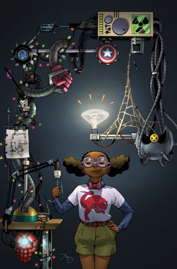 Lunella Lafayette as seen on the cover of Moon Girl and Devil Dinosaur #13 Photo Credit: Amy Reeder/Marvel Comics
