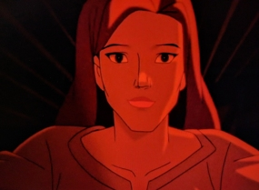 A red-scale view of Jean Grey.