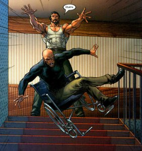 Xavier being pushed down a flight of stairs.